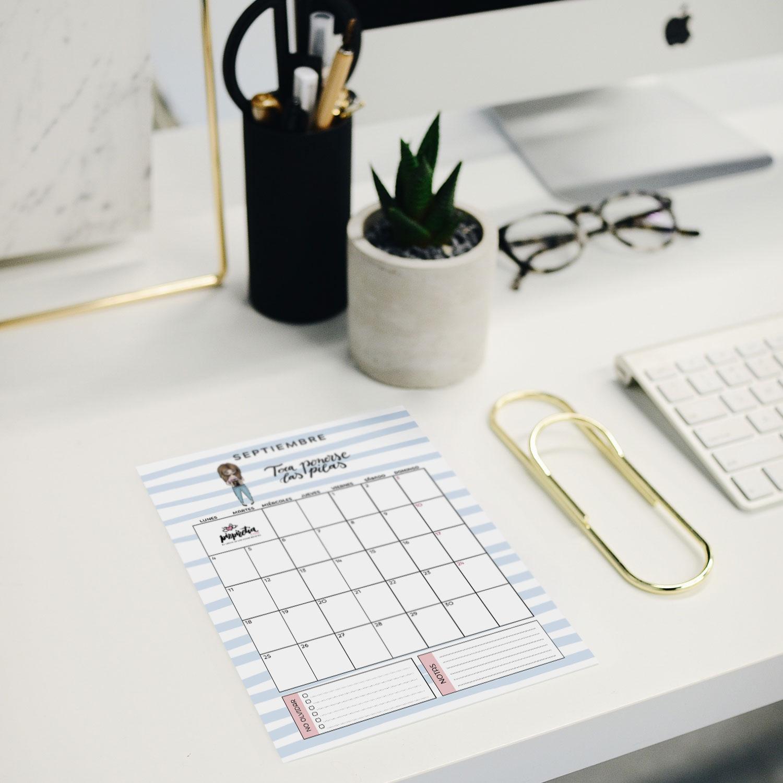 Planificador descargable e imprimible para septiembre 2017 de Pizpiretia